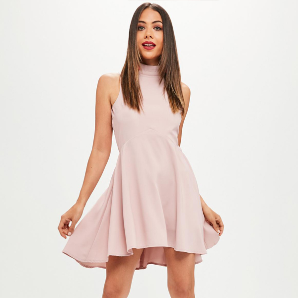 Top selling polyester fabric pink high neck dipped hem sleeveless skater dress women