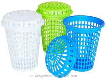 Fuchsia Turquoise Lime Green Orange 57l Round Pp Plastic Laundry Basket W