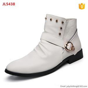 2017 Winter England Men White soft PU leather Martens Dress Boots with Buckles
