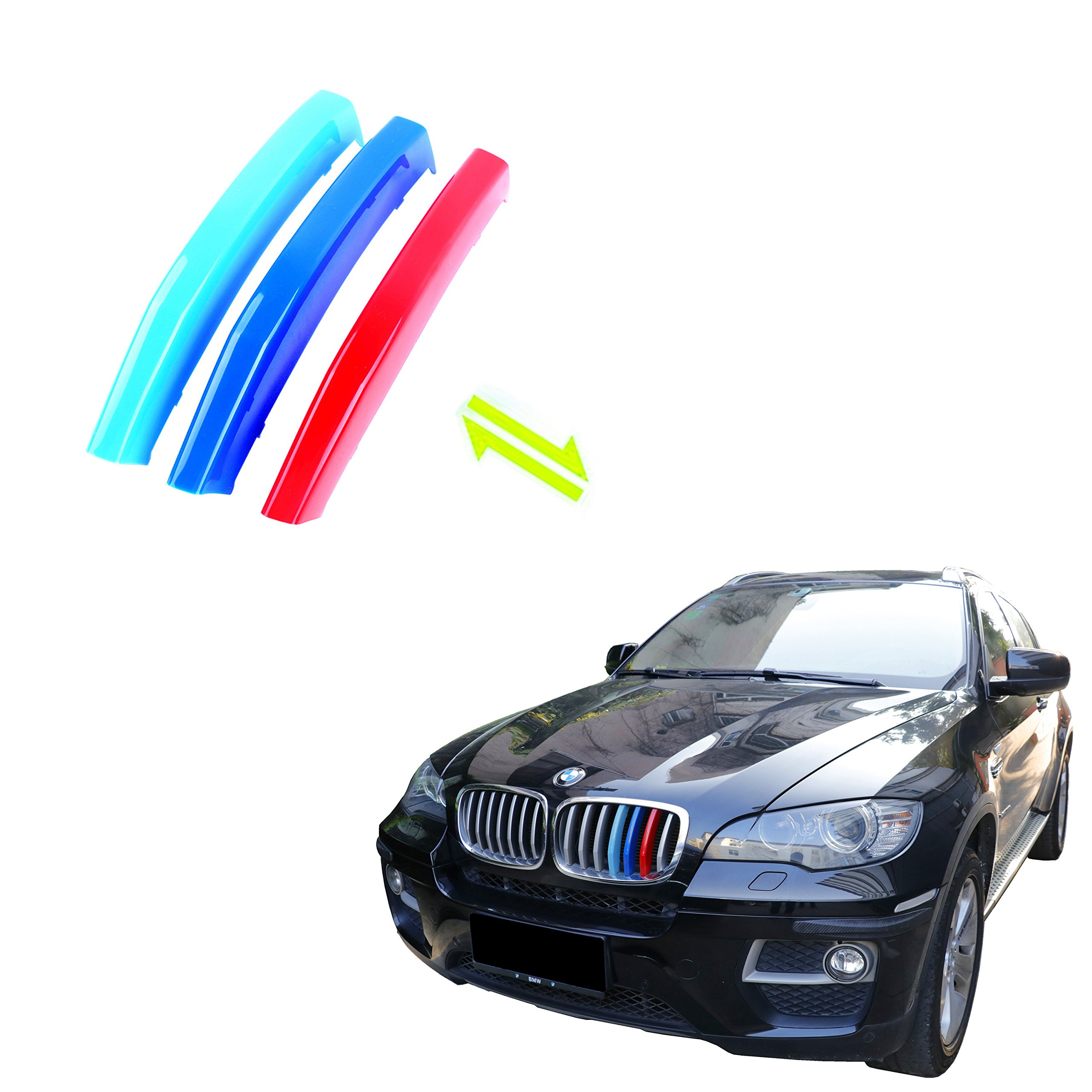 Jackey Awesome Exact Fit ///M-Colored Grille Insert Trims For 2012-2014 BMW E71 X6 Center Kidney Grill
