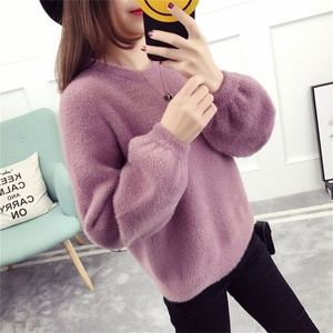 Sample Free New Style Women Sweater Imitated Mink Wool Round Collar Korean Style Pullover Sweater