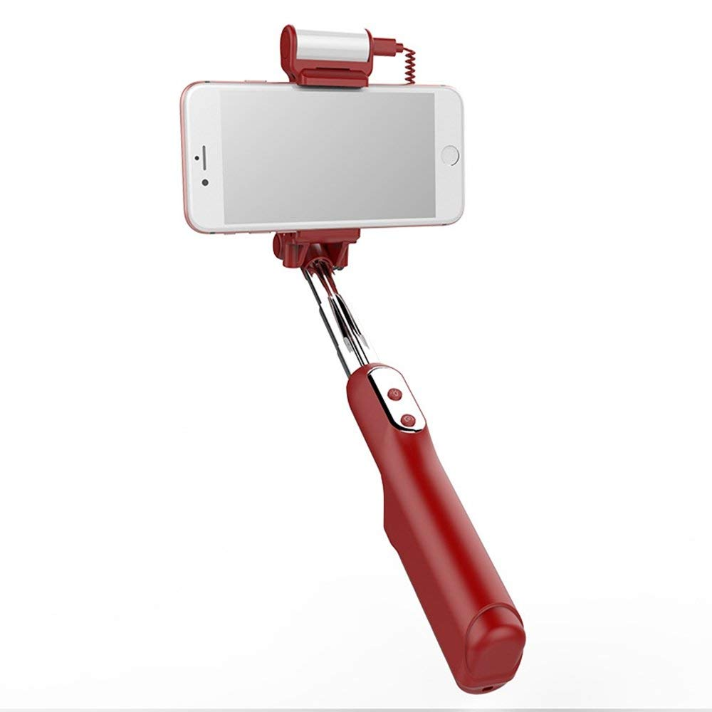 Epopee All Day Selfie Stick, Fill Light, Bluetooth Version3.0, Length Of Extension 185-870mm, Compatible iPhone6,iPhone6s,iPhone7,iPhone7 plus,iPhone7s,iPhone8,iPhone8x, (Red)
