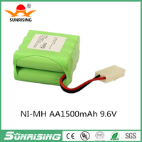 9.6V 1500mAh AA Ni-MH 8 Cell Rechargeable Replacement battery Pack with Tamiya Connector for RC Cars Boat, Robot, Security