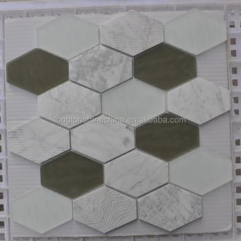 Weiß Marmor Und Glas Hexagon Textur Mosaik Fliesen, Küche Backsplash, Homer  Mosaik
