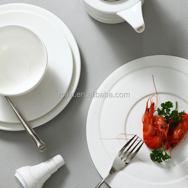 Hotel&restaurant white porcelain banquet plate,chaozhou ceramic plates, Buffet dinner sets wholesale