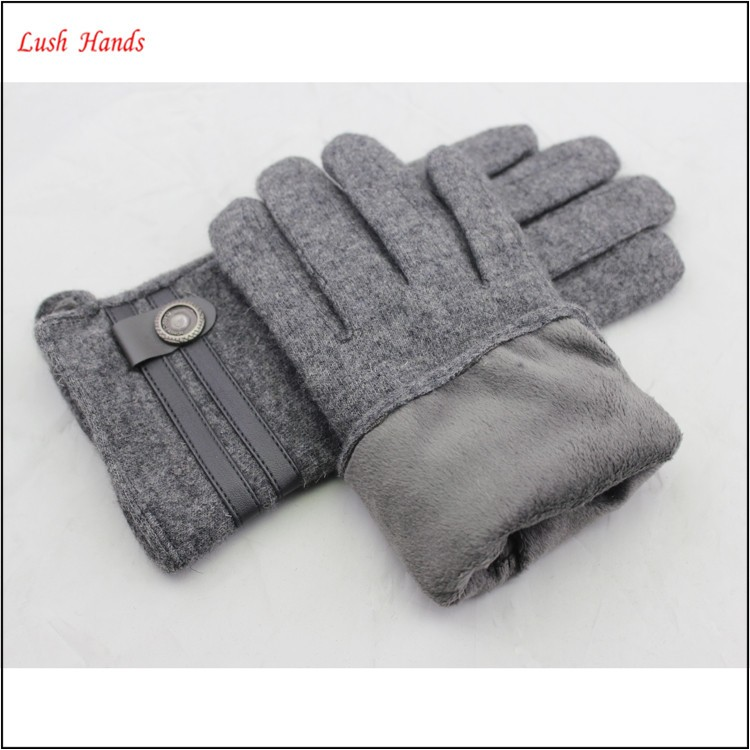 ladies warm winter thin grey woolen hand gloves with belt