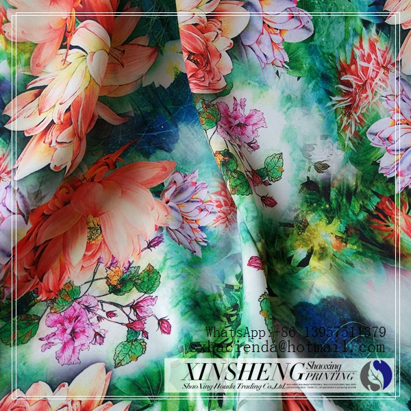 wholesale digital printing 100% polyester 75D crepe chiffon <strong>fabric</strong>