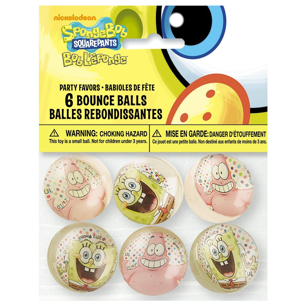 SpongeBob SquarePants Bouncy Ball Party Favors, 6ct