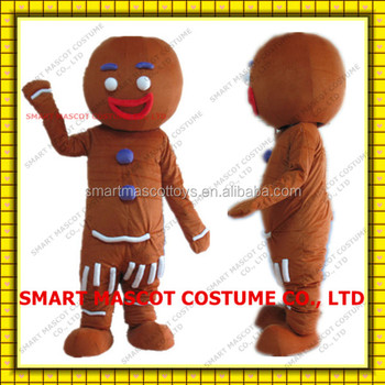 Adult xmas gingerbread man mascot with one mini fan inside the head for sale gingerbread man mascot