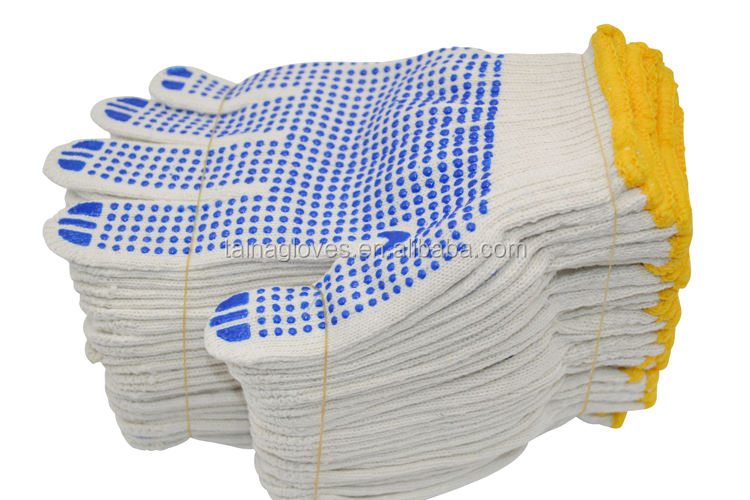 high quality and cheap price safety gloves pvc dotted gloves