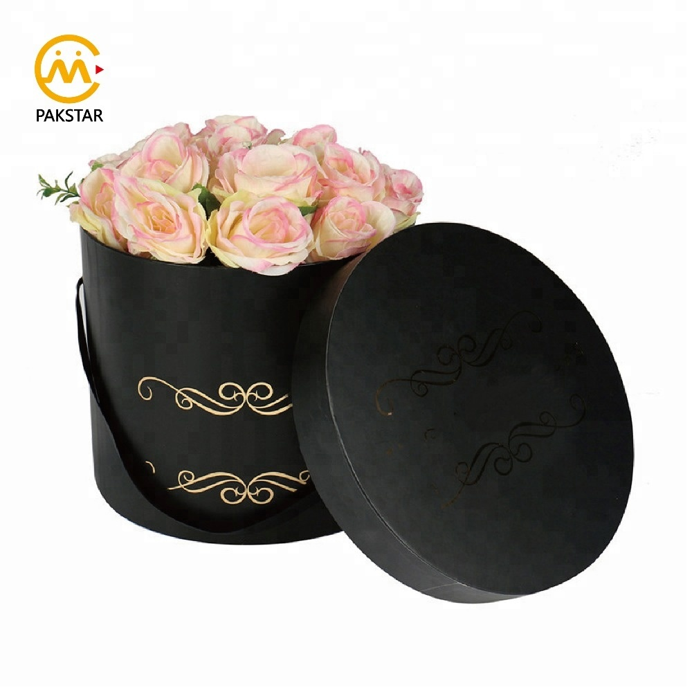 Wholesale factory outlet round cardboard flower gift box with gold hot stamping