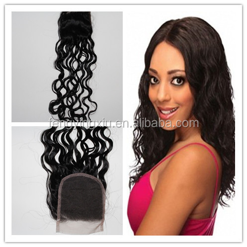 Fengying xiu hair prodcut 3.5*4 natural wave cheap unprocessed malaysian hair weave
