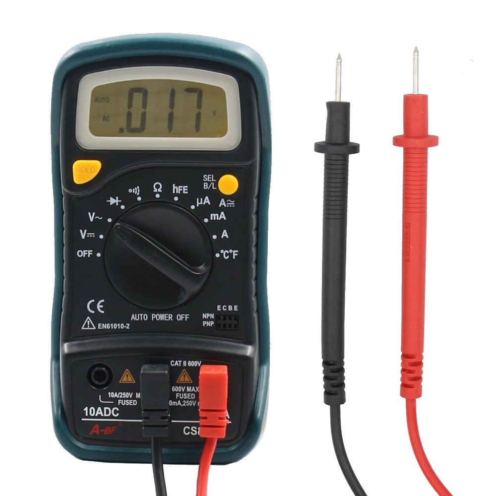 Multimeter, A-BF CS833B Auto Ranging Digital Multimeter AC / DC Voltage, Current, Resistance Multi Tester, Temperature Detector, Pocket Portable with LCD Backlight