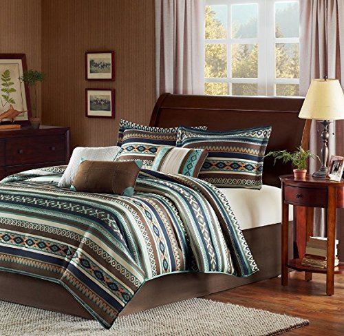 7 Piece Blue Brown White Southwest Comforter Queen Set, Native American Southwestern Bedding, Horizontal Tribal Stripes Geometric Motifs Lodge, Indian Themed Pattern, Aztec Western Color Tan Teal
