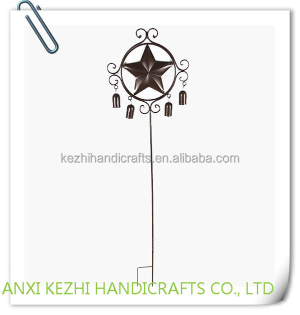 KZ8-06074 China wholesale decoration wrought iron metal star bell park garden stake