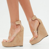 New coming summer sandals clear strappy women wedge heel sandals shoes