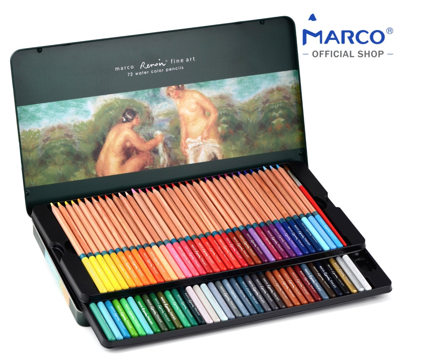 [MARCO OFFICIAL SHOP]Marco Renoir Fine Art 3120 WaterColor Pencils, Pack of 72,Tin Box,3.7mm Super Thick Lead, Fragrant Ceder Wood, Ultimate Set for Artist,Brush included, Extra Protection Packaging