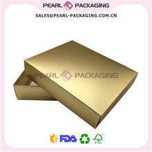 Metallic Gold Color Apparel Packaging Box, Matte Gold Clothes Box with Lid, Custom Logo Print Box for Shirts