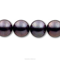 Near Round Good Luster Cultured Loose Bead Strands Real Pearls Manufacturer Farm Black Round Pearl