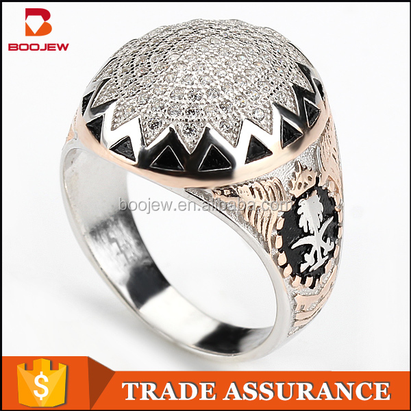 2015 Wholesale Saudi Arabia silver men rings mens gold rings with