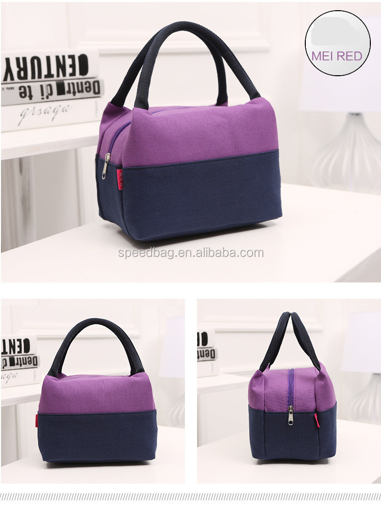 Yiwu wholesale fashion canvas lunch tote bag Portable lunch bag