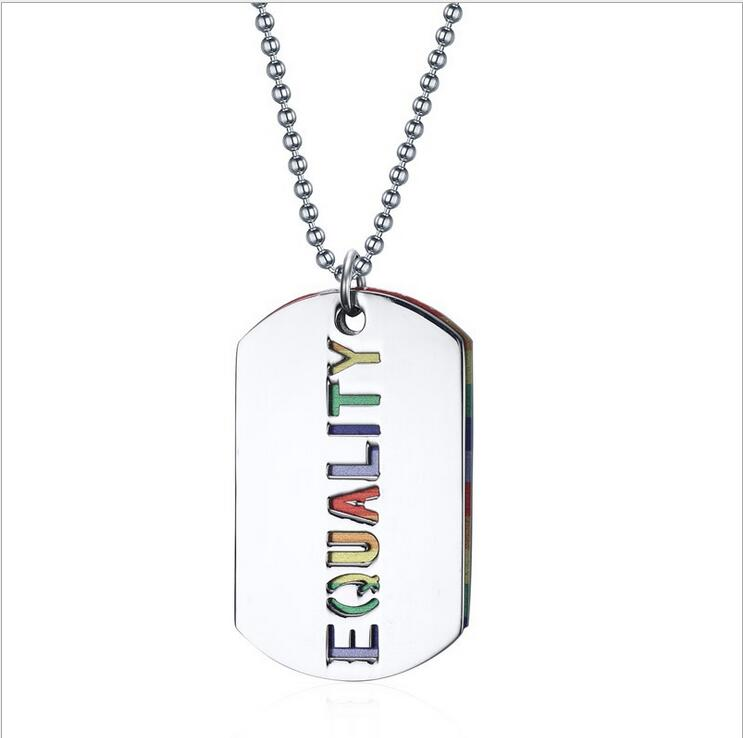 Modalen Rainbow Stainless Steel Letter Alphabet Statement Pendant Necklace