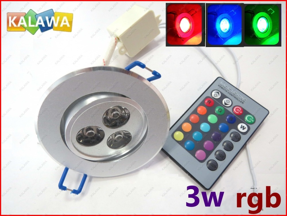 1pc 3w rgb led ceiling colorful downlight dimmable high. Black Bedroom Furniture Sets. Home Design Ideas