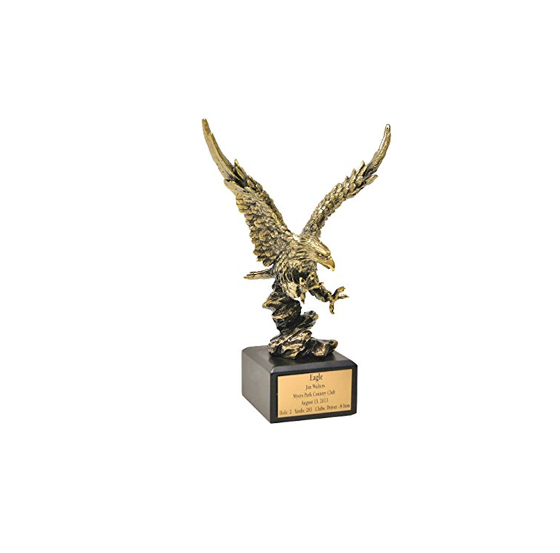 Etch Workz Patriotic Eagle Award Trophy 6 inch Red White Blue Resin Award with Gold Tone Eagle Head