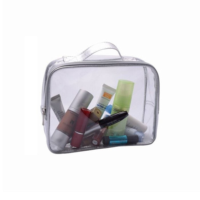 Zipper Closure Clear Pvc Cosmetic Bag With Handle