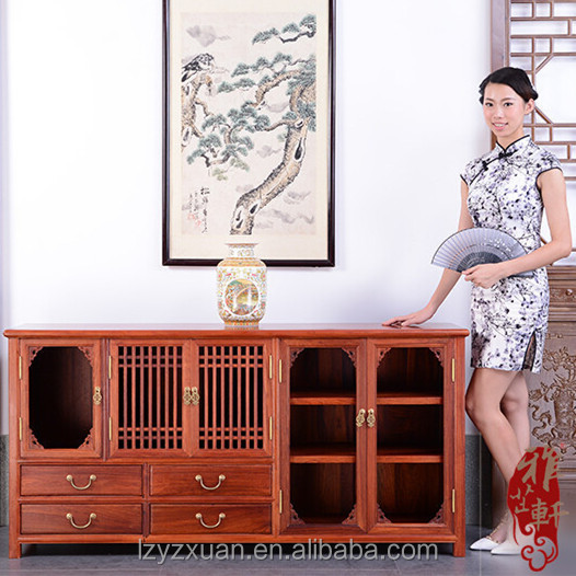 2016 hot selling Chinese style Burma rosewood type antique storage wooden chest cabinet with drawers