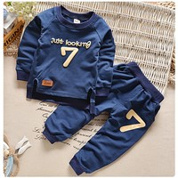Autumn Children Clothing Sets Boys Girls Warm Long Sleeve Sweaters+Pants Fashion Kids Clothes Sports Suit for Girls