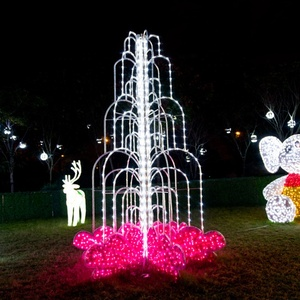 3D Outdoor Christmas Decorations Fountain Sculpture LED Rope Lights