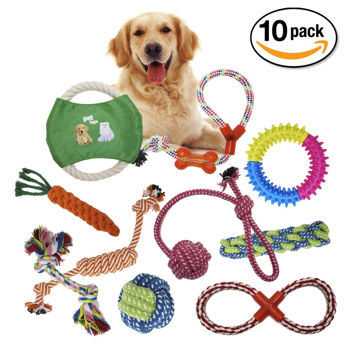 PAWCREW Dog Rope Toys 10 Pack Set Pet Puppy Teething Chew Rope Tug Assortment for Small Medium Large Dogs Breeds-Interactive Toys 100% Safe-Knots Bones Balls Frisbee
