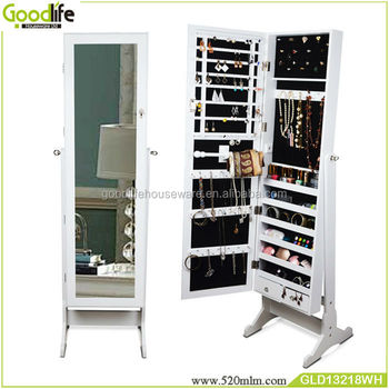 Bedroom Free Standing Makeup Organizer Jewelry Cabinet Mirror