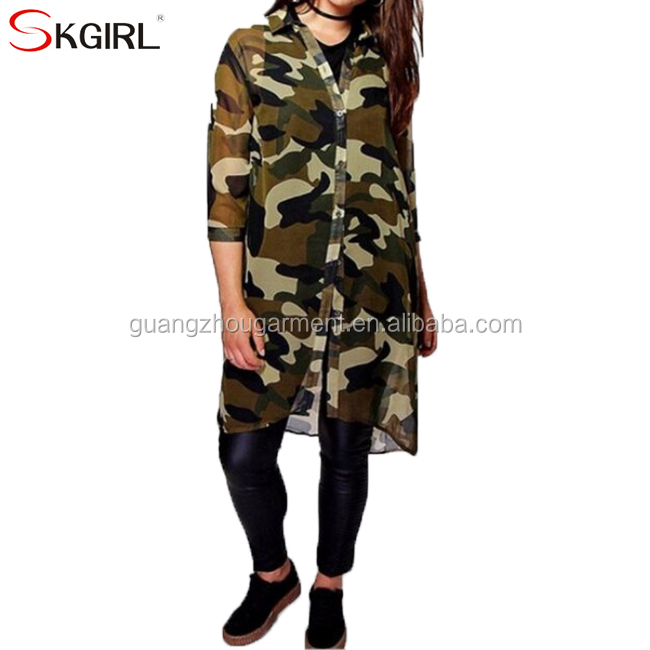 22aa255d55a79 Big size women fashion casual open front printed chiffon camouflage long shirt  blouse top for ladies