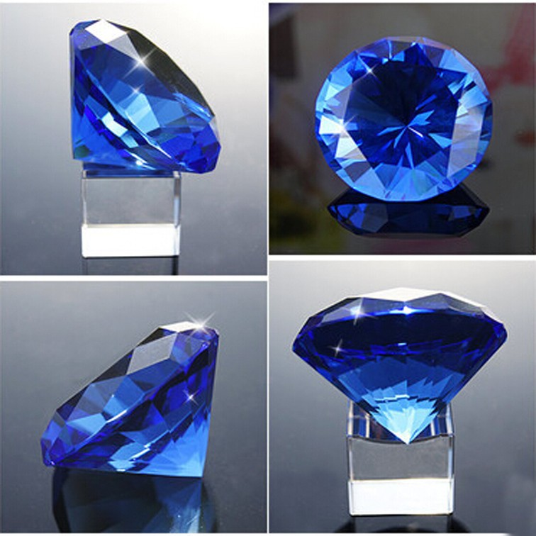 diamond shaped blue crystal 3d laser etched paperweight for desk decoration