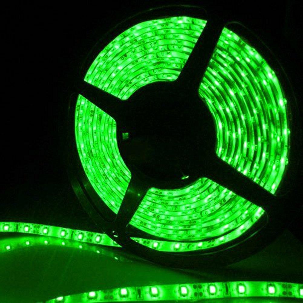 CO-RODE Waterproof SMD 12V IP65 5M Flexible LED Strip Lights, LED Tape, Green Color, 300 Units 3528 LEDs, Light Strips, Pack of 16.4ft/5m for Home Decoration ,KTV ,DJ, Car Pack of 1