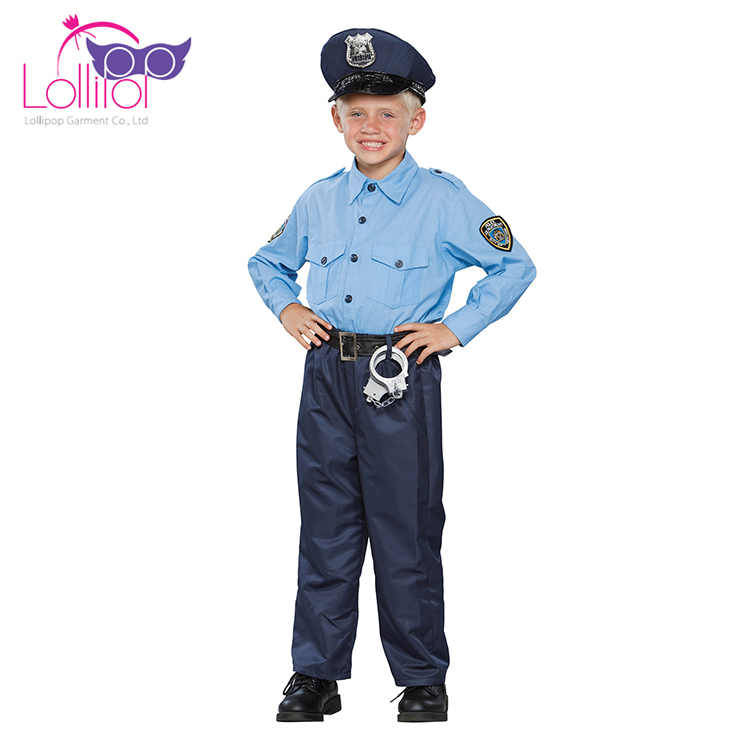 Factory cosplay carnival costume design childrens police dress up costume for boy