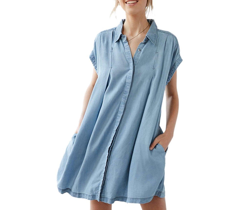 422644b5aa Get Quotations · Archie Vince Womens Vintage Button Oversize Jean Denim  Shirt Dress Tunic