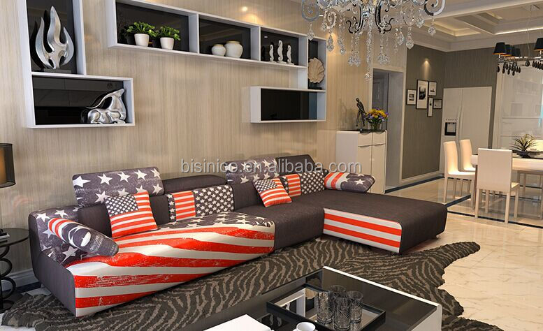 BISINI The Union Jack Pattern Living Room Sofa Set, Modern Economical  Apartments Fabric Furniture Sofa