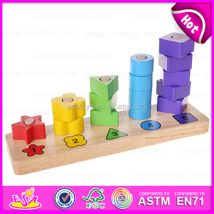 Wooden Rainbow tower shape Geometric Sorter blocks,Toys for Education Wooden Geometric Shapes Blocks for learn count W13D093