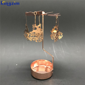 Custom rose gold christmas carousel metal reindeer tealight candle holder spinning