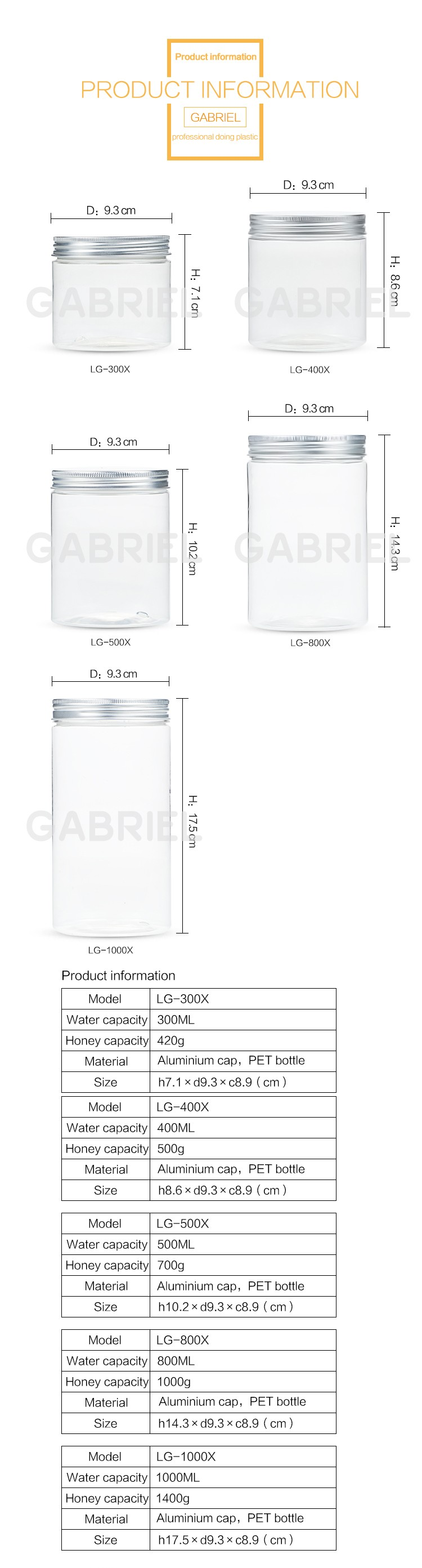 100 150 200ml round container clear customized empty bamboo lid PLA plastic cream jar