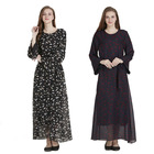 Wholesale kaftan dress women islamic clothing butterfly chiffon printed fabric full sleeve maxi dress 2018 new style