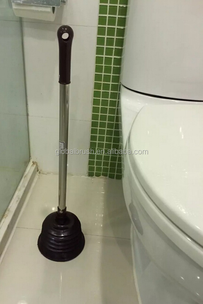 HQ2214 home bathroom washing PVC toilet plunger with stainless steel handle