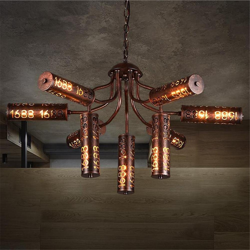DHXY Retro Chandelier Loft Industrial Vintage 1688 Hollow Digital Design Baking Paint Water Pipes Wrought Iron Pendant Ceiling 9 Lights For Living Room, Bar, Cafe, Restaurant