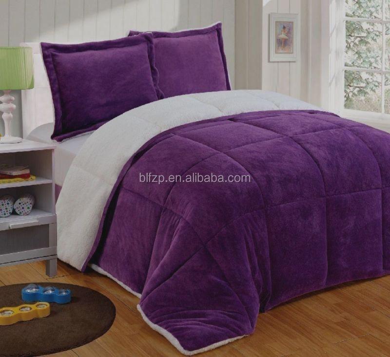 solide matelass couvre lit couverture hiver chaud violet molleton sherpa couette - Couvre Lit Violet