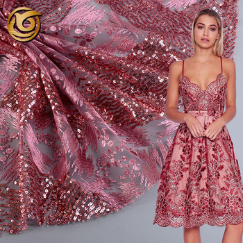 Newest fashionable comfortable poly embroidery sequin fabric for lady dress