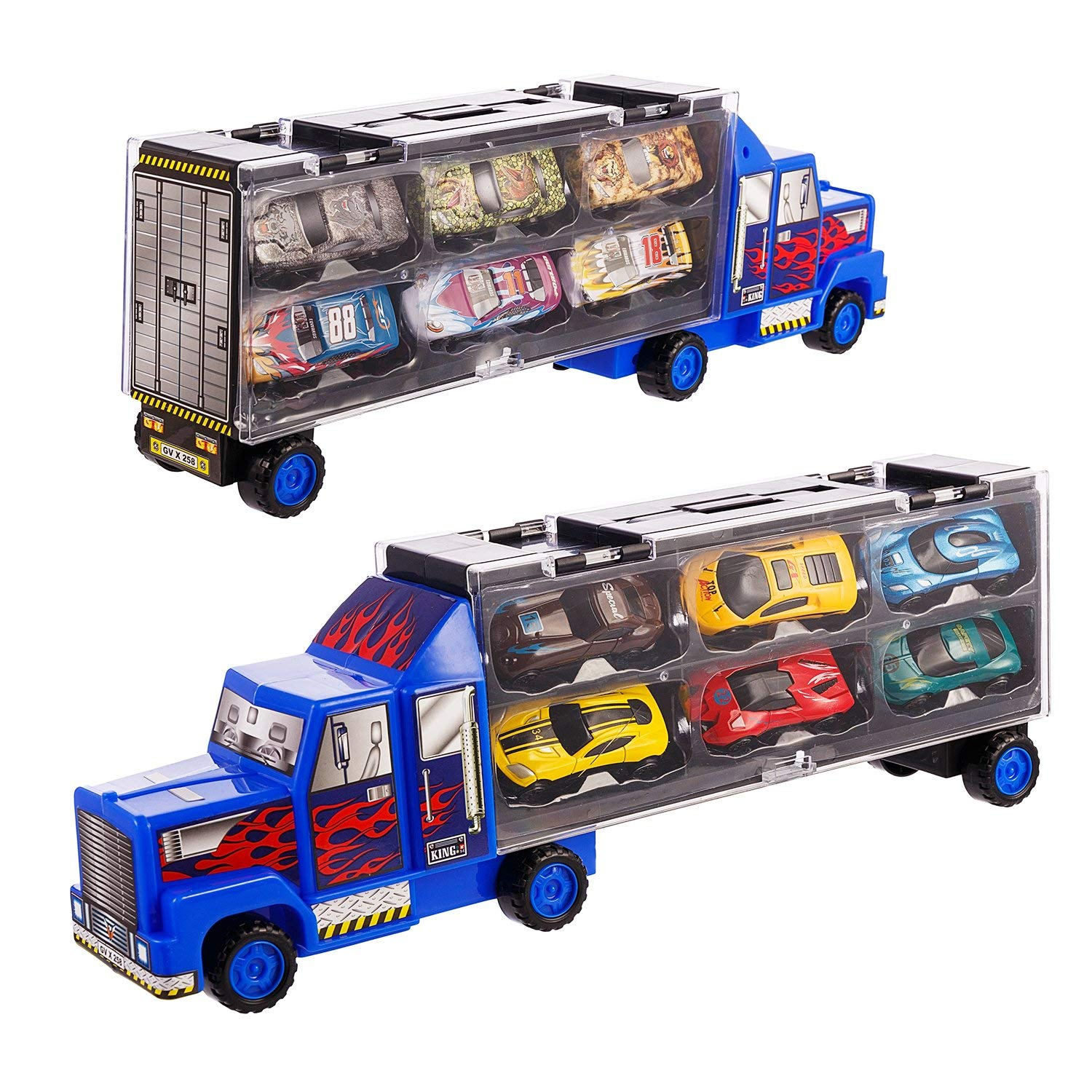 adc599aa89f6f Get Quotations · Transport Car Carrier Truck diecast car Toy for Kids (Includes  6 Alloy Cars
