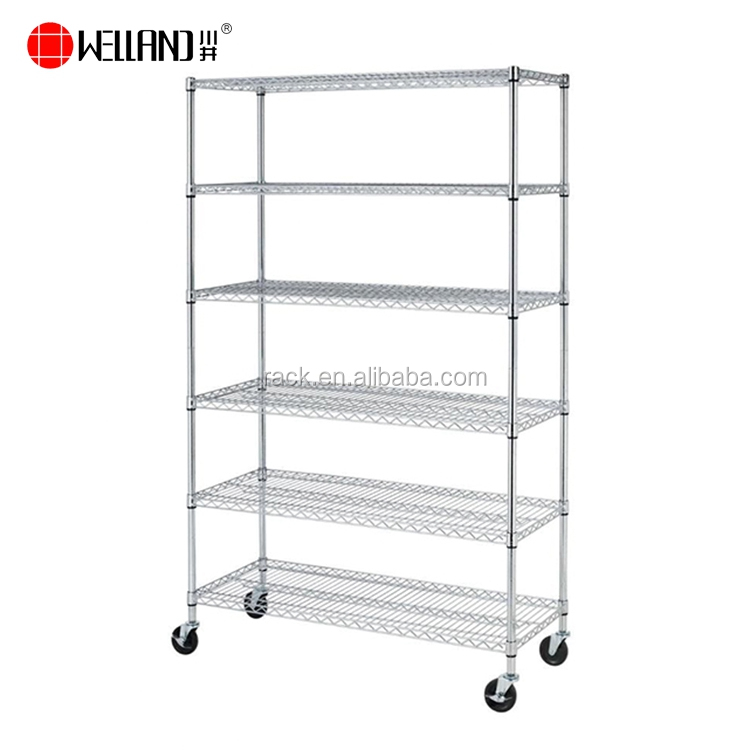 Wholesale NSF Approval 6 Tier Adjustable 800lbs Metal Chrome Shelving Unit Racks Garage,Heavy Duty Wire Shelf
